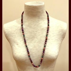 """Multicolor round glass bead necklace 30"""" long."""